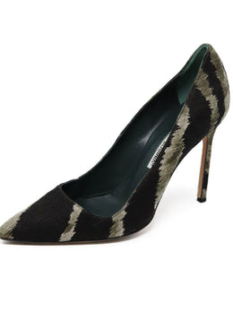 Manolo Blahnik Shoe Black Olive Canvas Shoes
