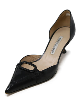 Manolo Blahnik Black Leather Patent Trim Heels 1