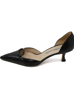 Manolo Blahnik Black Leather Patent Trim Heels 2
