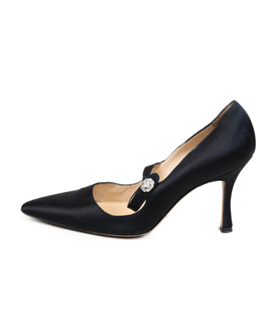 Manolo Blahnik Black Satin Heels 1