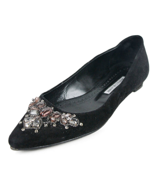 Manolo Blahnik Black Suede Beaded Shoes