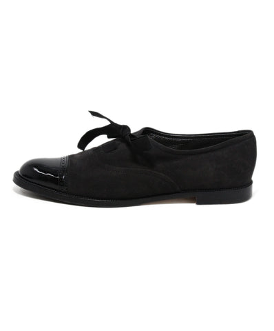 Manolo Blahnik Black Suede Patent Leather Lace Up Shoes 1