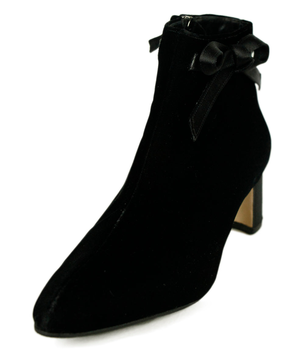 Manolo Blahnik Black Velvet Satin Booties 1