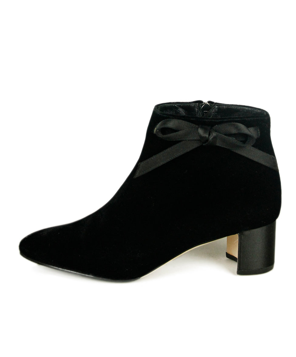 Manolo Blahnik Black Velvet Satin Booties 2