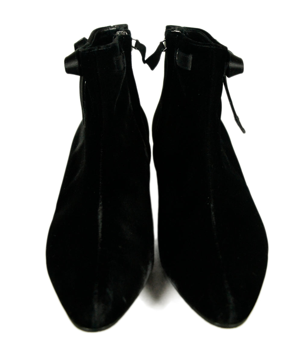 Manolo Blahnik Black Velvet Satin Booties 3