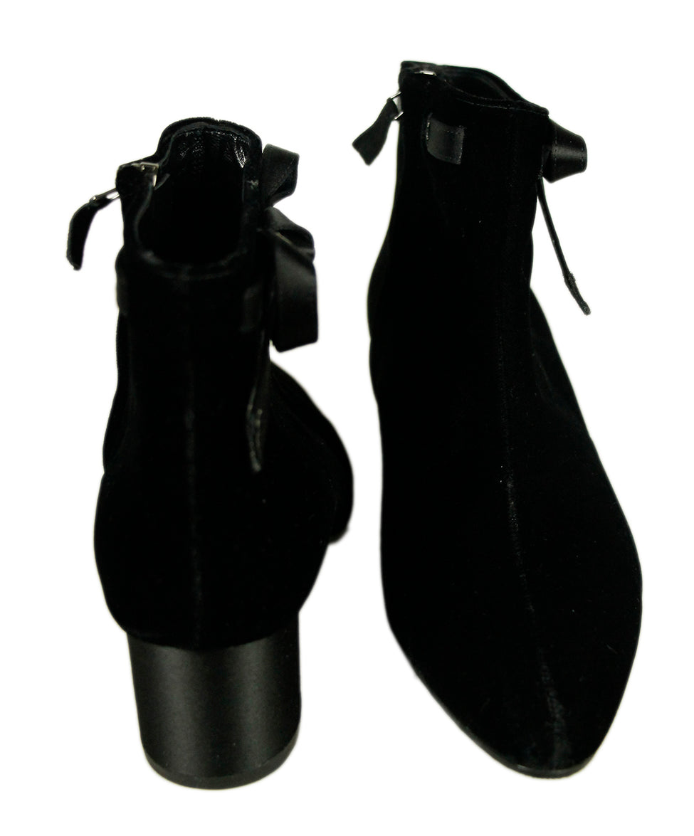 Manolo Blahnik Black Velvet Satin Booties 4