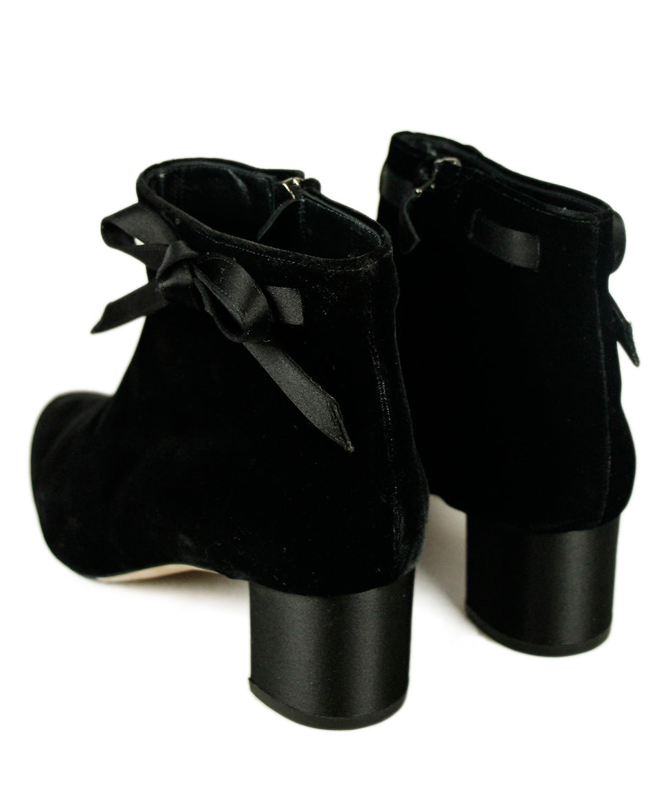 Manolo Blahnik Black Velvet Satin Booties 5