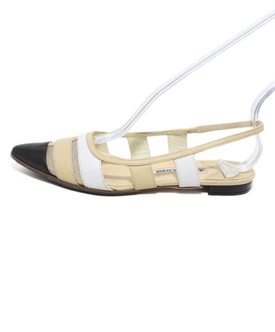 Manolo Blahnik Black White Beige leather sling back flats 1
