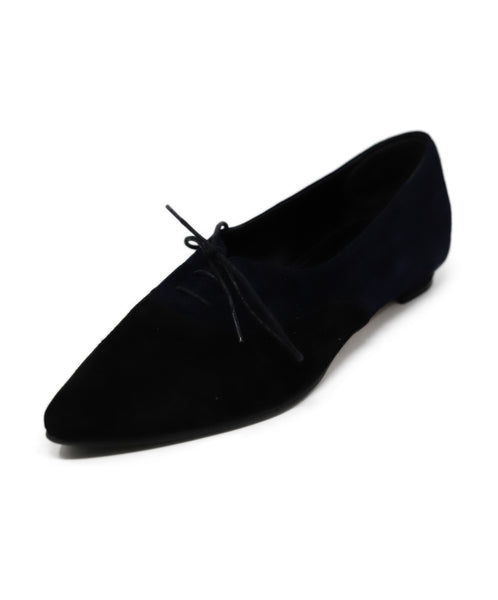 Manolo Blahnik Black and Blue Suede Flats