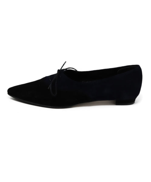 Manolo Blahnik Black and Blue Suede Flats 1