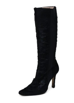 Manolo Blahnik Black Fur Boot Sz 10