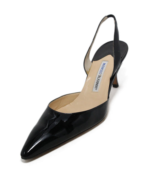 Manolo Blahnik Black patent leather sling backs 1