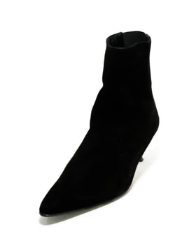 Manolo Blahnik Black Suede Elastic Trim Booties 1