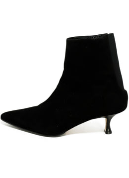 Manolo Blahnik Black Suede Elastic Trim Booties 2