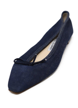 Manolo Blahnik Blue Denim Flats 1