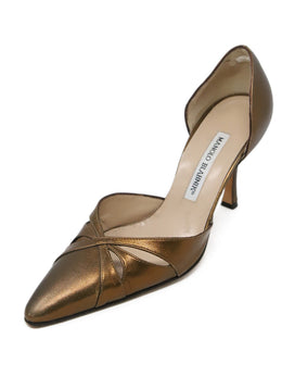 Manolo Blahnik Metallic Bronze Leather Heels 1