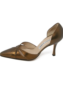 Manolo Blahnik Metallic Bronze Leather Heels 2