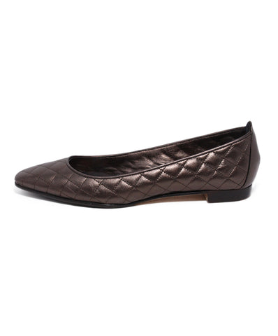 Manolo Blahnik Bronze Quilted Leather Flats 1