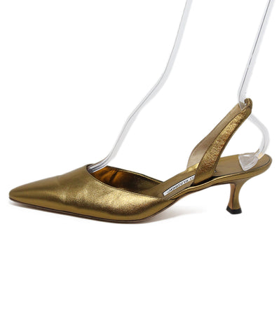 Manolo Blahnik Bronze leather Sling Backs 1