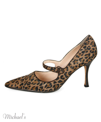 Manolo Blahnik Animal Print Suede Shoes Sz 40