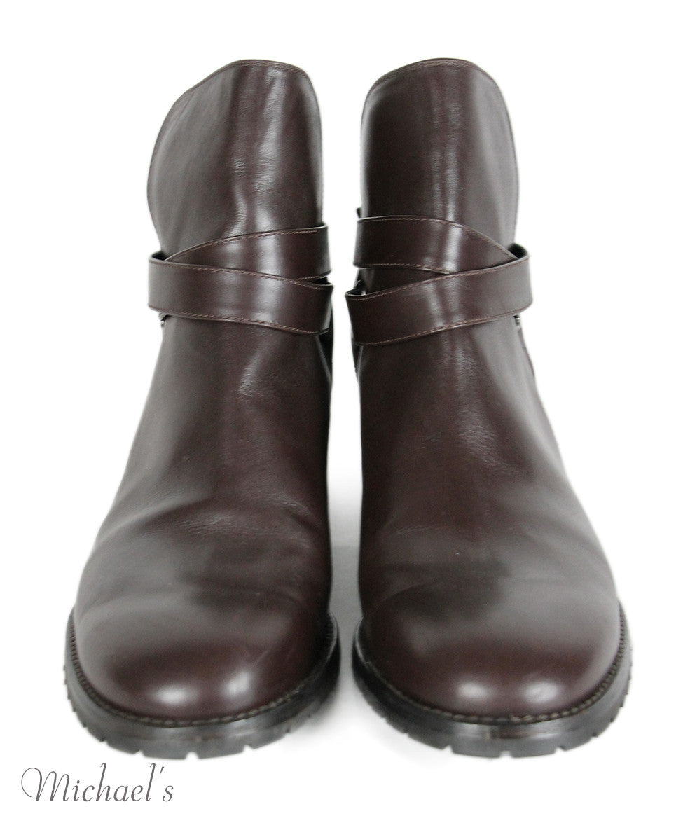Manolo Blahnik Brown Leather Booties Sz 42