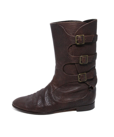 Manolo Blahnik Brown Leather Buckle Boots 1