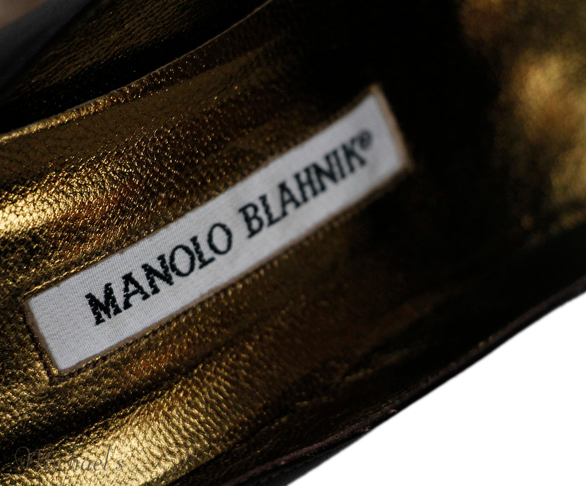Manolo Blahnik Brown Leather Shoes Sz 40