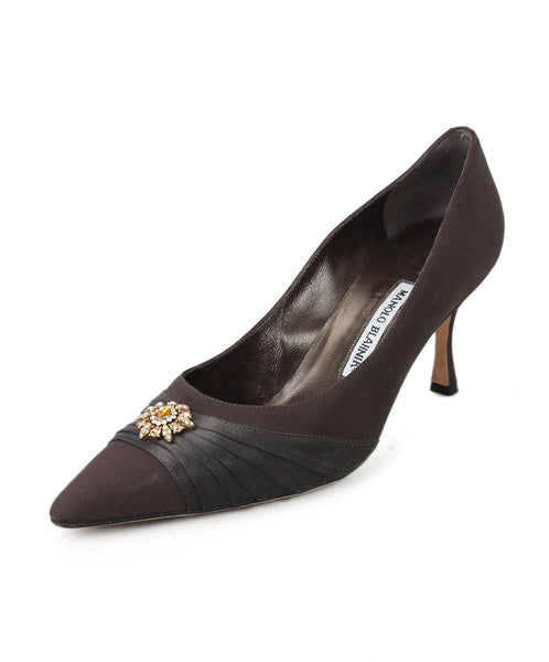 Manolo Blahnik Brown Silk Heels with Rhinestones 1