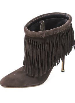 Manolo Blahnik Brown Suede Fringe Booties 1