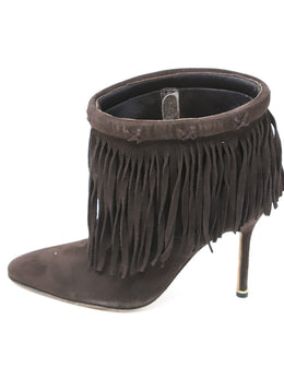 Manolo Blahnik Brown Suede Fringe Booties 2