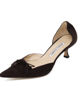 Manolo Blahnik Brown Suede Kitten Heels 1