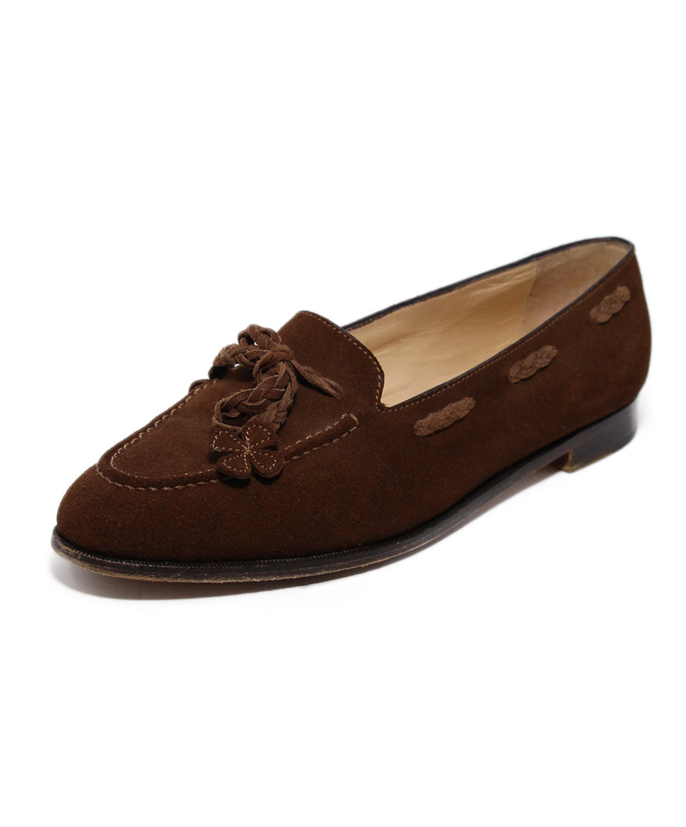 Manolo Blahnik Brown Suede Loafers 1