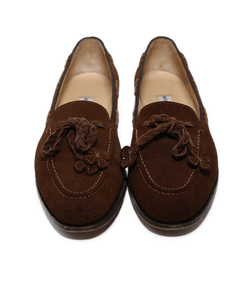 Manolo Blahnik Brown Suede Loafers 4