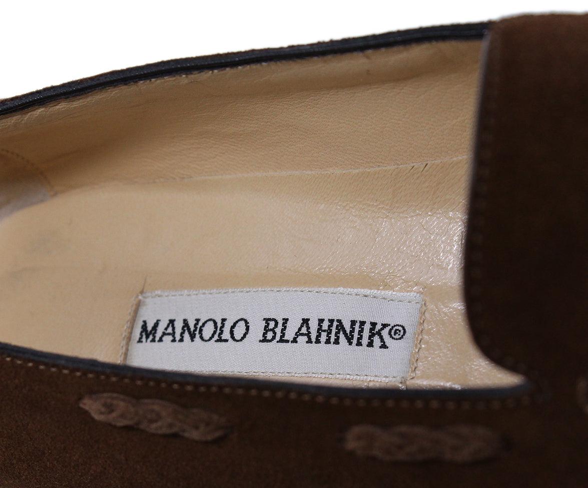 Manolo Blahnik Brown Suede Loafers 7