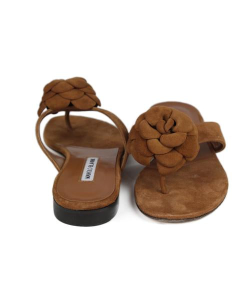 Manolo Blahnik Brown Suede Florettes Sandals Sz 40.5