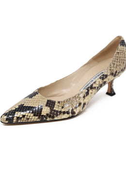 Manolo Blahnik Brown Snakeskin Kitten Heels 1