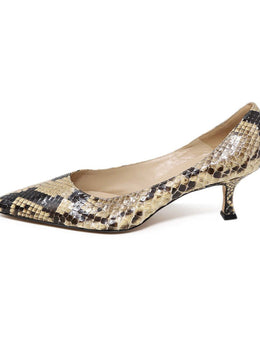 Manolo Blahnik Brown Snakeskin Kitten Heels 2