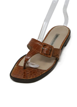Manolo Blahnik Cognac Crocodile Sandals 1