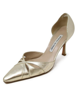 Manolo Blahnik Gold Leather Heels 1