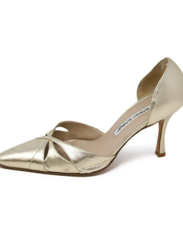 Manolo Blahnik Gold Leather Heels 2