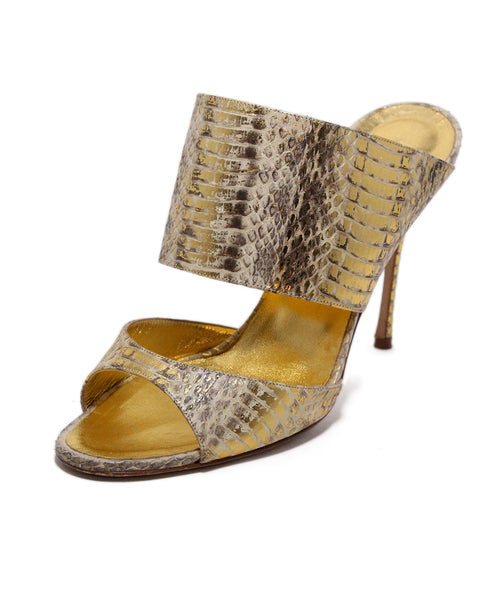Manolo Blahnik Gold Pressed Leather Cream Mules 1
