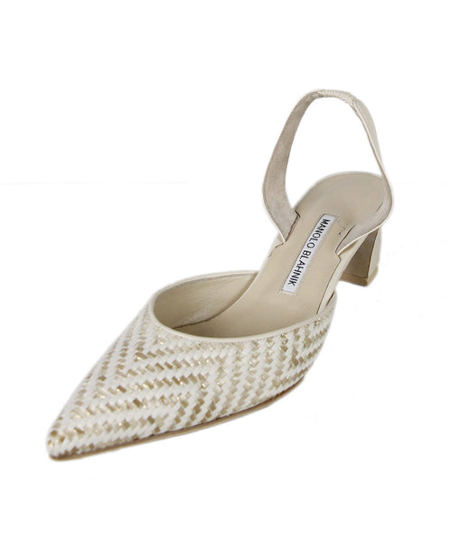 Manolo Blahnik White Gold Raffia Beige Woven Shoes Sz 39.5