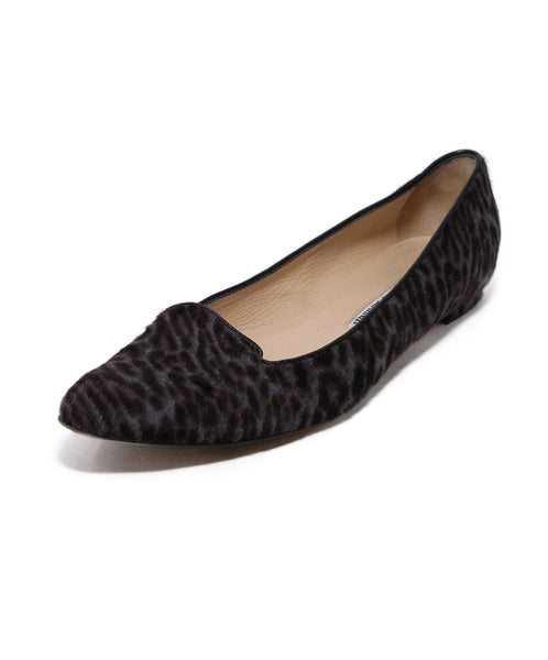 Manolo Blahnik Grey Animal Print Pony Flats 1