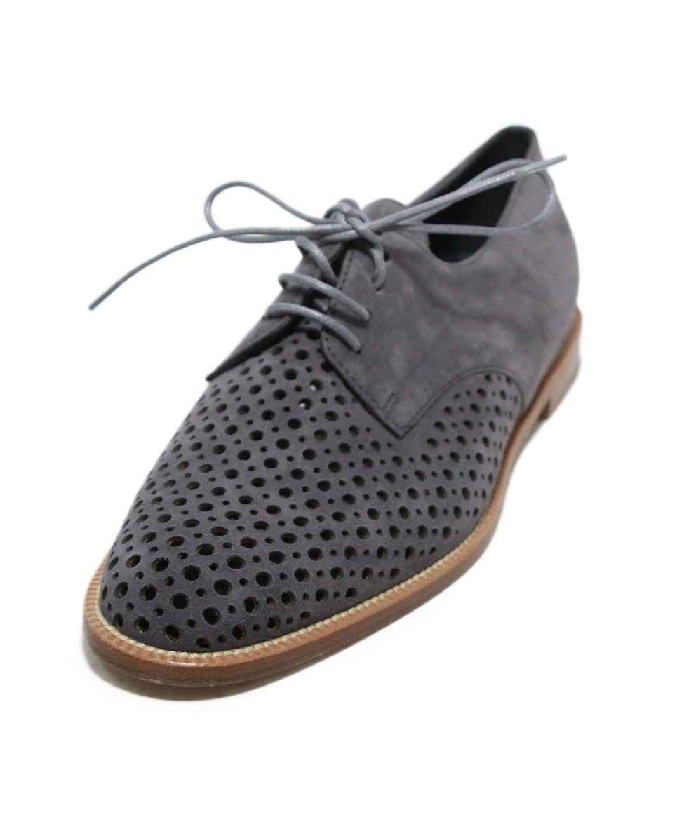 97209efb60bfa Manolo Blahnik US 6.5 Grey Charcoal Perforated Suede Shoes ...