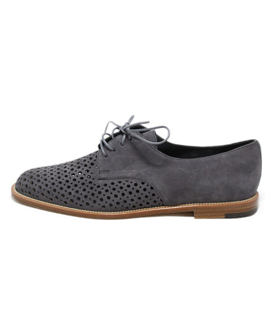 Manolo Blahnik Grey Charcoal perforated suede shoes 1