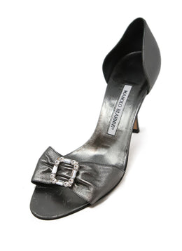 Manolo Blahnik Gunmetal Leather Heels 1