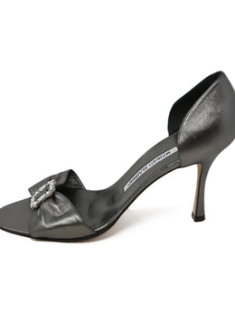 Manolo Blahnik Gunmetal Leather Heels 2