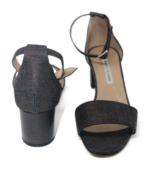 Manolo Blahnik Metallic Black Denim Sandal 3