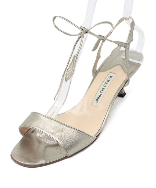 Manolo Blahnik Metallic Bronze Leather Sandals 1