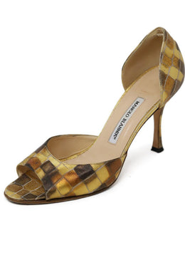 Manolo Blahnik Metallic Gold Bronze Black Canvas
